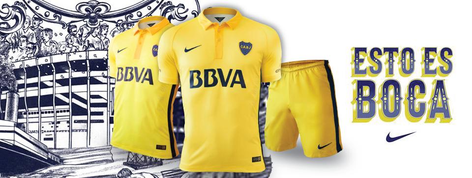 ... este lunes al mediodía Nike presentó mediante una app la esperada  camiseta amarilla que utilizará Boca a partir de enero en los torneos de  verano. b85dcbef38025